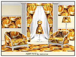 Sims 3 — Fiery Pits_marcorse by marcorse — Abstract pattern: crucibles of molten metal in a regular repeat design in