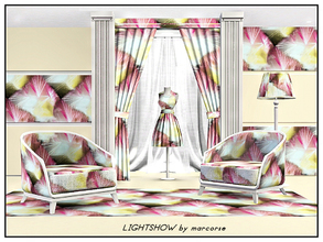 Sims 3 — Lightshow_marcorse by marcorse — Fabric pattern: abstract design in pink, yellow and white on black
