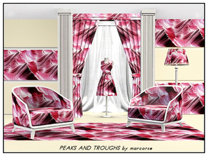 Sims 3 — Peaks & Troughs_marcorse by marcorse — Abstract pattern: Stylised ocean wave design in red/purple and white