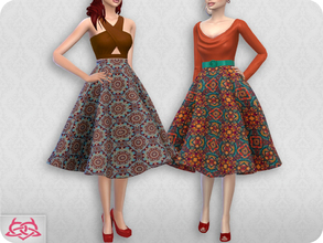 Sims 4 — Vintage Basic skirt 2 RECOLOR 3 (Needs mesh) by Colores_Urbanos — 5 colors capulana Need mesh, look at