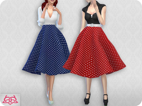 Sims 4 — Vintage Basic skirt 2 RECOLOR 6 (Needs mesh) by Colores_Urbanos — 15 colors polka dots Need mesh, look at