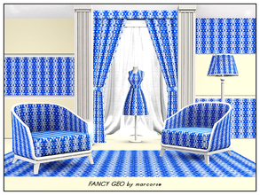 Sims 3 — Fancy Geo_marcorse by marcorse — Geometric pattern: vertical design of fancy arrowheads and triangles in blue