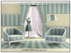 Sims 3 — Ladder Stripe 2_marcorse by marcorse — Geometric: blue green and white ladder stripe in a vertical design