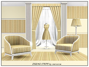 Sims 3 — Zigzag Stripe_marcorse by marcorse — Geometric: vertical zigzag stripe in yellow and brown