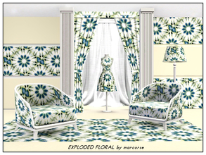 Sims 3 — Exploded Floral_marcorse by marcorse — Abstract pattern: flower shapes in an exploded design in blue, yellow and