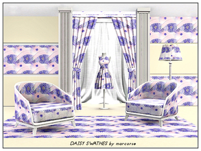 Sims 3 — Daisy Swathes_marcorse by marcorse — Fabric pattern - deep blue daisy shapes in a swathed design with palest