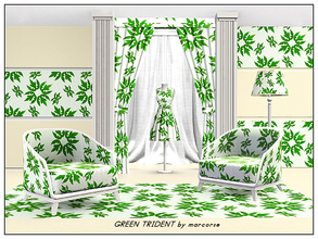 Sims 3 — Green Trident_marcorse by marcorse — Abstract pattern: trident heads in deep green on lighter green