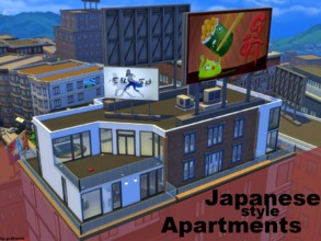 Sims 4 — Japanese Style Apartments NO CC by godkamia — 3 similarly colored but differently styled and sized japanese