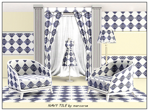 Sims 3 — Navy Tile_marcorse by marcorse — Tile patterm: navy blue and white printed tile in a diamond pane design
