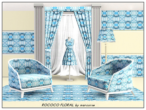 Sims 3 — Rococco Floral_marcorse by marcorse — Fabric pattern: Rococco floral design in sky blue, white and navy