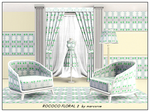 Sims 3 — Rococco Floral 2_marcorse by marcorse — Fabric pattern: Rococco floral design in soft blue, green and white