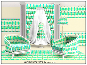 Sims 3 — Teardrop Stripe_marcorse by marcorse — Abstract pattern: sea green elongated teardrops on a wavy stripe of apple