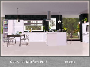 Sims 3 — Gourmet Kitchen Pt. I by ung999 — This kitchen set consists of 2 parts, part one of this set includes 11