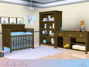Sims 3 — Brooklyn Baby Nursery by Lulu265 — A small Nursery Set , in 2 colour options of dark wood and blue for the boys