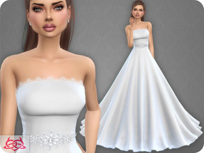 Sims 4 — Wedding Dress 9 (original mesh) by Colores_Urbanos — 30 colors - Belt in recommended New mesh made by me - Your
