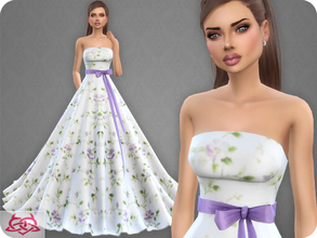 Sims 4 — Wedding Dress 9 RECOLOR 2 (Needs mesh) by Colores_Urbanos — 5 colors - Belt in recommended Need mesh, look at