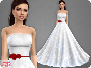 Sims 4 — Wedding Dress 9 RECOLOR 3 (Needs mesh) by Colores_Urbanos — 15 colors - Belt in recommended Need mesh, look at