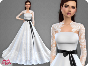 Sims 4 — Wedding Dress 9 RECOLOR 4 (Needs mesh) by Colores_Urbanos — 4 colors - Belt in recommended Need mesh, look at