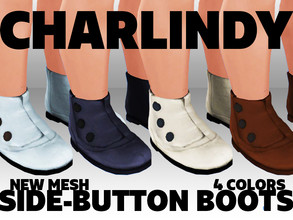 Sims 4 — Charlindy Vintage Toddler Side Button Boots by Charredsky — Vintage side-buttoning boots in 4 colors, perfect