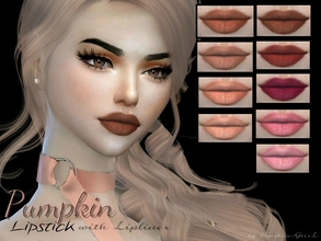 Sims 4 — Pumpkin Matte Lipstick with Lipliner by Baarbiie-GiirL — - this lipstick works with ALL Skins - with Lipliner -