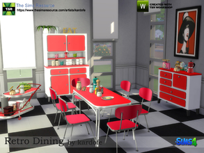 Sims 4 — kardofe_Retro Dining by kardofe — Dining room in a retro style where cheerful and intense colors predominate and