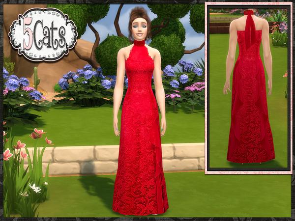 Designer Lace Halter Long Gown