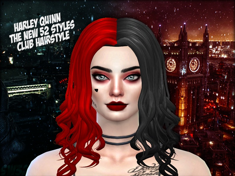 sweet sims32 s the new 52 styled harley quinn hair recolor mesh needed