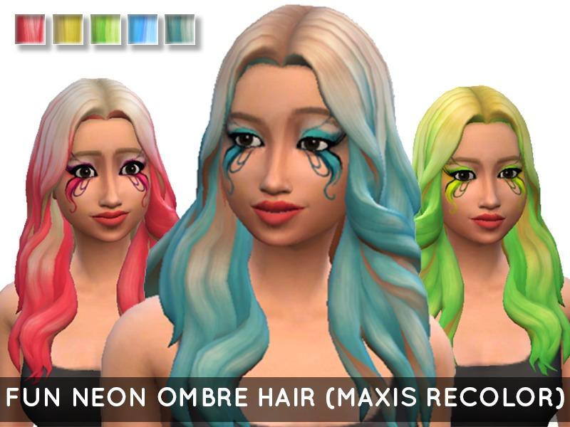 MissGoofball's Fun Neon Ombre Hair (Outdoor Retreat Recolor)
