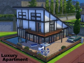 Sims 4 — Luxury Apartment NO CC by godkamia — A luxury apartment with two floors and basement. Living area, dining and