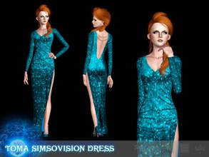 Sims 3 — Toma dress Simsovision 2017 by Shushilda2 — EA mesh | 3 recolorable channels | Low poly | CAS and Launcher icons