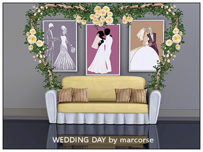 Sims 3 — Wedding Day_marcorse by marcorse — Three wedding day paintings in sketch style.