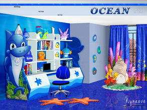 Sims 3 — Ocean Kids Study by NynaeveDesign — An ocean themed study room that creates a perfect ambience for work,