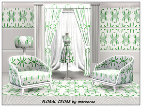 Sims 3 — Floral Cross_marcorse by marcorse — Abstract pattern - abastract design in green on white