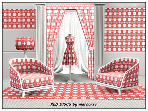 Sims 3 — Red Discs_marcorse by marcorse — Geometric pattern: simple geometric design of flattened discs in red and white.