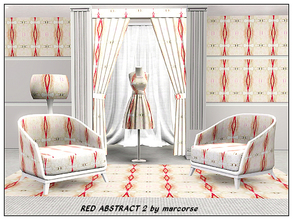 Sims 3 — Red Abstract 2_marcorse by marcorse — Abstract pattern - abstract vertical design in red and light tan