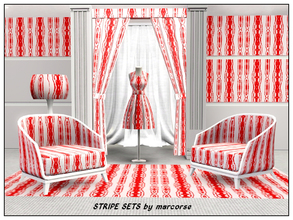 Sims 3 — Stripe Sets_marcorse by marcorse — Fabric pattern: figured skinny stripes in red and white
