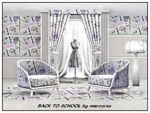 Sims 3 — Back to School_marcorse by marcorse — Themed pattern - school book with doodles on a back to school theme.