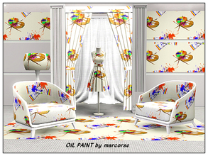 Sims 3 — Oil Paint_marcorse by marcorse — Themed pattern - artist's palette, oil paints and paint splatters.