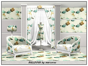 Sims 3 — Bulldogs_marcorse by marcorse — Themed pattern: a shower of bulldog clips in grey, tan and aqua . . for the