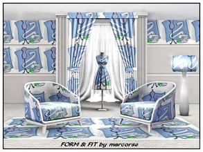 Sims 3 — Form & Fit_marcorse by marcorse — Themed pattern : dress form, tape and sewingmachine . . form and fit for