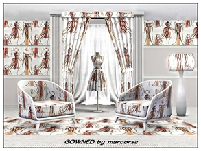 Sims 3 — Gowned_marcorse by marcorse — Themed pattern: fashion models wearing evening gowns
