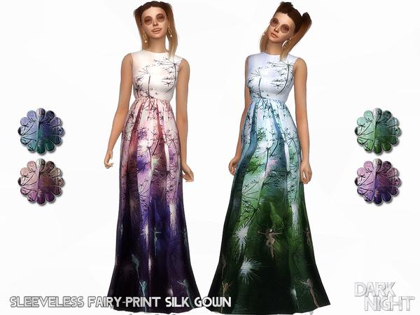 Sleeveless Fairy Print Silk Gown