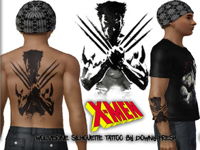 Sims 3 — Marvel's X-Men Wolverine Silhouette Tattoo by Downy Fresh — X-Men Tattoo for your comic loving sims! Features an