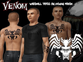 Sims 3 — Marvel's Venom Warshall Tattoo by Downy Fresh — Venom Tattoo for your comic loving sims! Features an image of