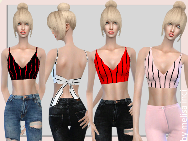 Striped Bow Tie Open Back Crop