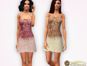 Sims 3 — Ombre Sequined Mini Dress by Harmonia — not recolorable only 3 colors (Pink-Gold-Silver) Mesh By Harmonia
