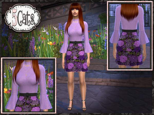 Bell Sleeve Sweater Floral Skirt