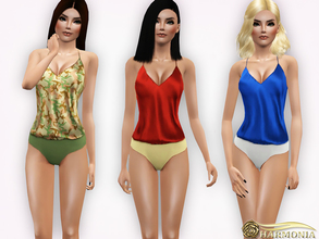 Sims 3 — Silk-Satin and Jersey Bodysuit by Harmonia — 5 color recolorable Please do not use my textures. Please do not