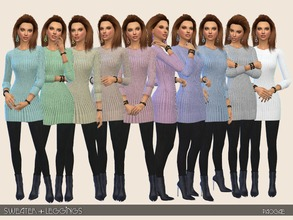 Sims 4 — Sweater+Leggings by Paogae — Black leggings, shiny, and a warm sweater in ten colors, to combine with elegant