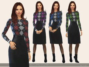 Sims 4 — AutumnOutfit by Paogae — Black leather skirt, woolen sweater with lozenges pattern, in four colors. Categories: